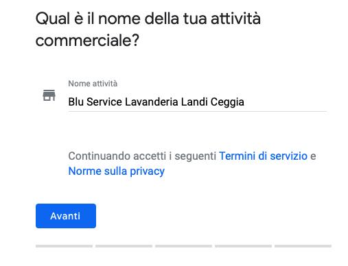 PRIMA SCHERMATA creazione Google my business