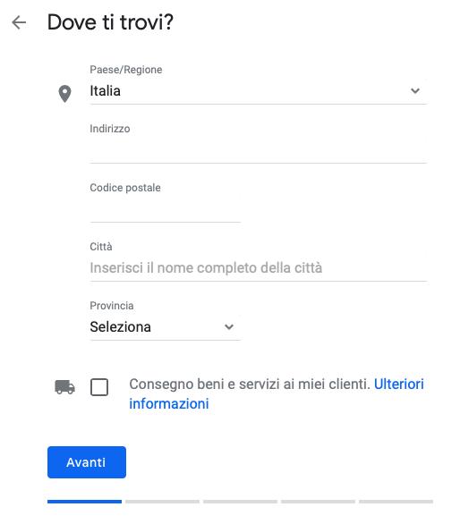 seconda schermata google my business