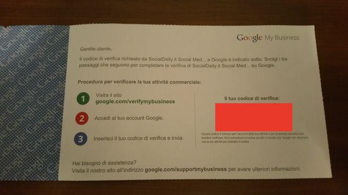 cartolina google my business