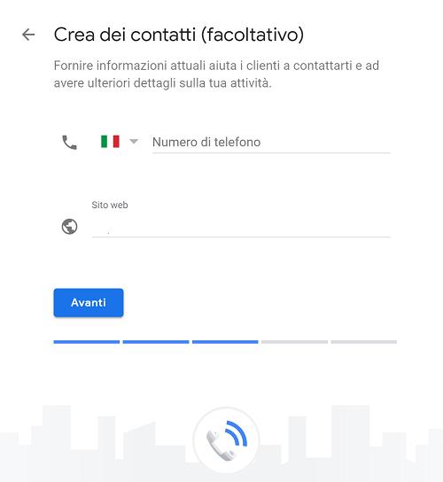 crea contatti google my business