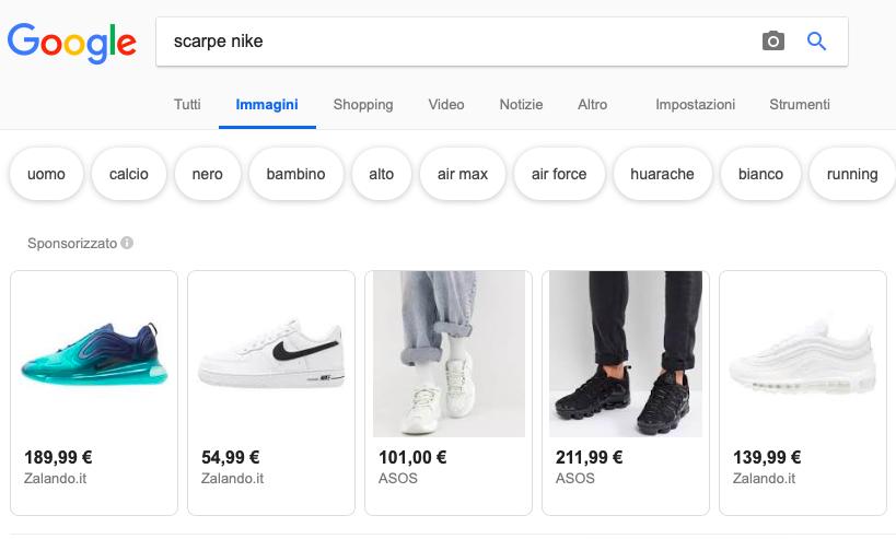 esempio google shopping scarpe Nike